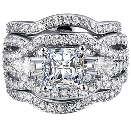 - FENDINA Women 3 PCS Vintage 18K White Gold Plated Wedding Engagement Rings Set Princess Cut White CZ Promise Rings for Couples, Size 10