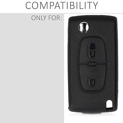 kwmobile Funda Llave de Coche Peugeot Citroen - Repuesto Protector de plástico Duro para Mando Llave Plegable de 2 Botones para Coche Peugeot Citroen ...