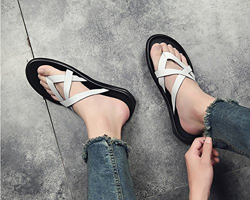 verano zapatillas de correa hombre hombre de la Tamaño al libre Sandalias sandalia multicolor tamaño del tobillo Blanco Negro sandalias playa 39 zapatos Color 44 39 aire aqZnxfw