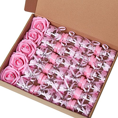 Marry Acting 2 Dozens 3.5 Inch Feeding Bottle Candy Box with 5 Pcs Artificial Flower Rose for Baby Shower Favor Gift Decoration (Pink)