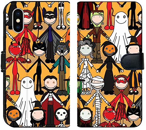 Liili Premium iPhone XS MAX Flip Micro Fabric Wallet Case Seamless Pattern Made of Illustrated Kids in Halloween Costumes Image ID -