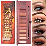 Veronni 12 Colors Highly Pigmented Pro Matte Pressed Eyeshadow Palette - Professional Vegan Nudes Warm Natural Bronze Neutral Smokey Cosmetics Eye Shadows Makeup With Mirror & Eye Brush