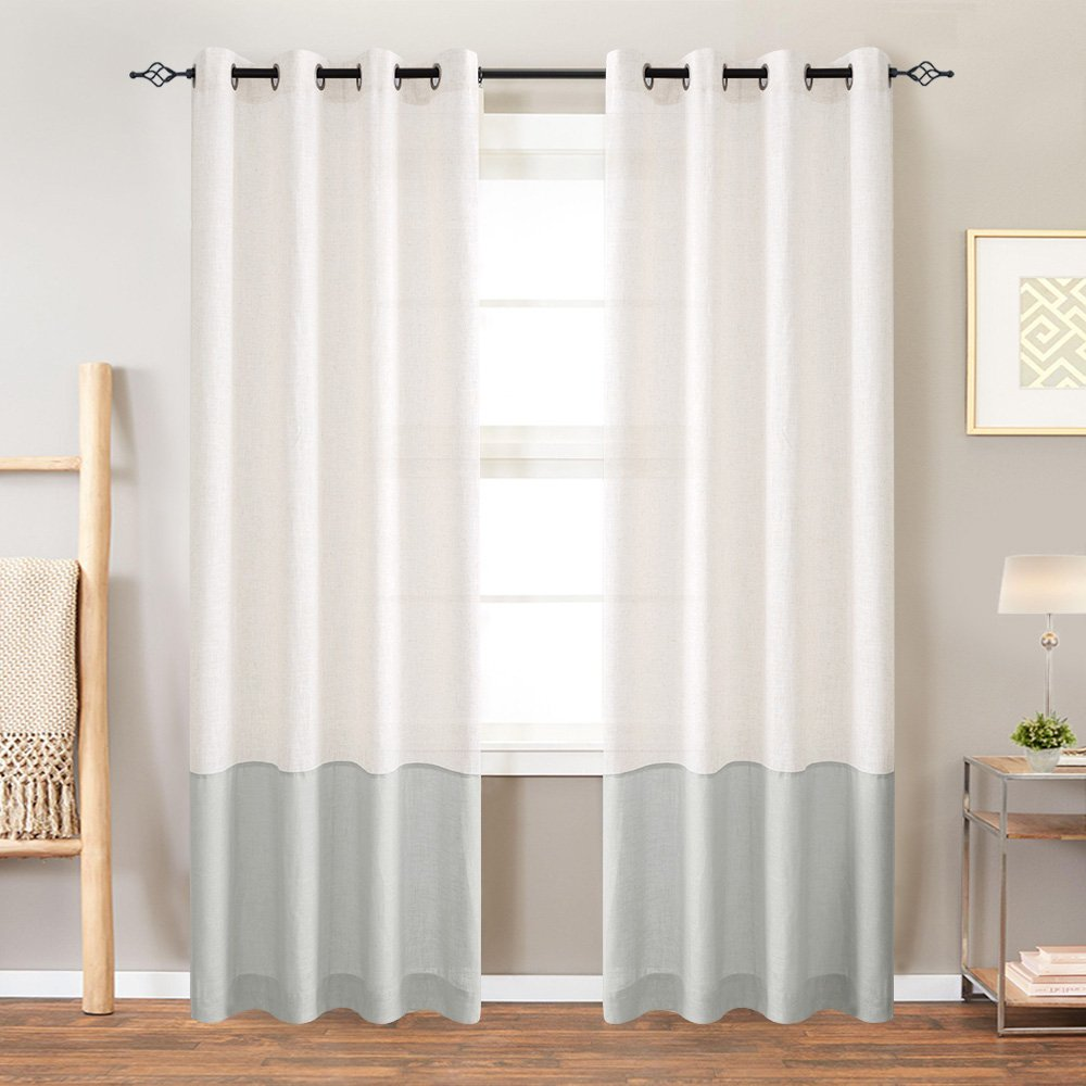 Colorblock Linen Curtains for Living Room 84 Inches Window Treatments for Bedroom Ring Top 2 Panels White x Grey