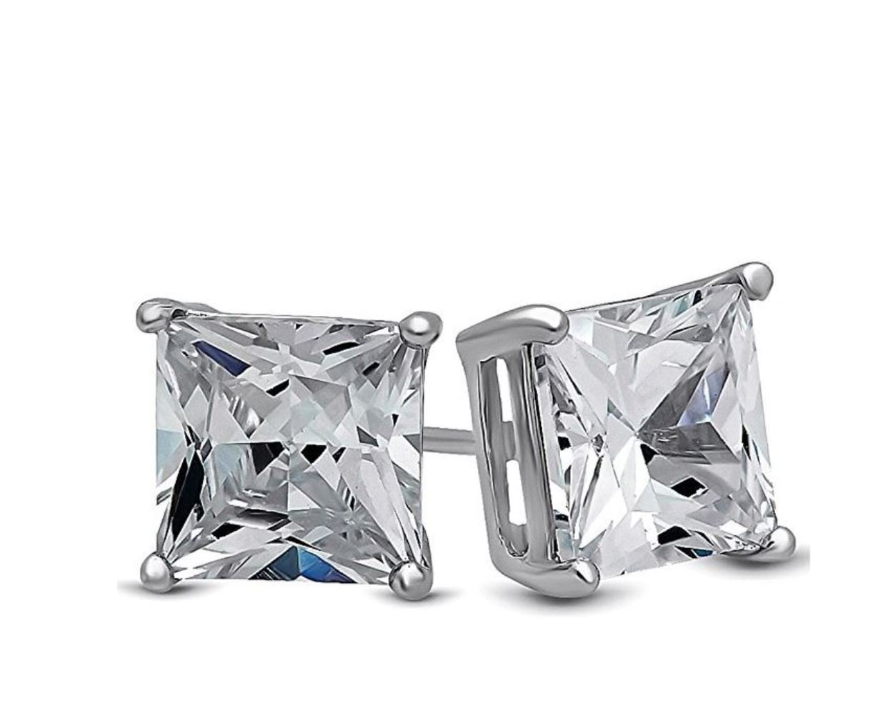 Surgical Stainless Steel Studs Earrings Men Women Girls Boys Square Princess Cut Basket Setting Cubic Zirconia Hypoallergenic Earrings WITH A FREE GIFT ROUND STUDS EARRINGS (6 MM)