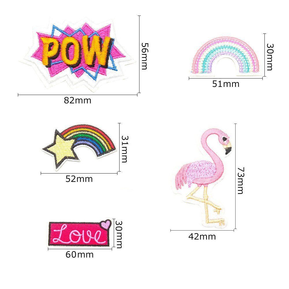 Flamingo//Rainbow//LOVE Soleebee 5pcs Mixed Hand Embroidered Iron-on or Sew-on Patch Applique Accessories