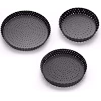 FJ Pizza Pan with Holes, Pizza Crisper Cooking Pan with Coating, Carbon Steel, Non-Stick Pizza Tray for Oven, Round Perforated Baking Pan for Home & Restaurant Kitchen Cooking Tool (S)