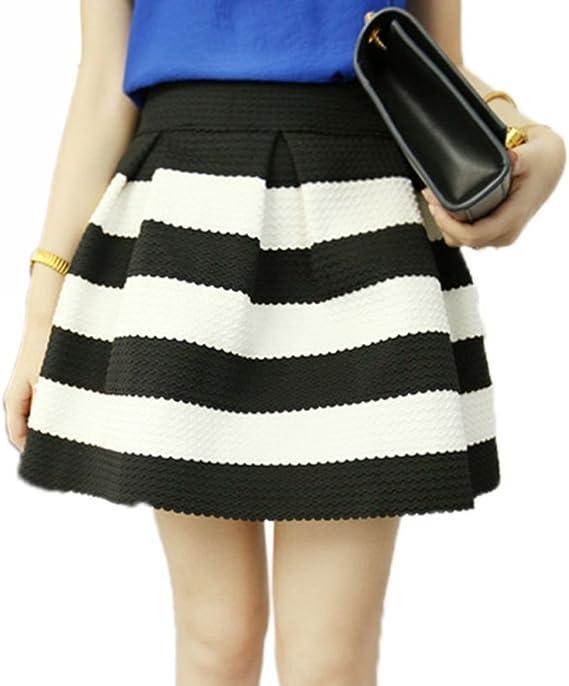 Falda a Rayas Negra Blanca Cebra para Mujer Vintage Algodón de ...