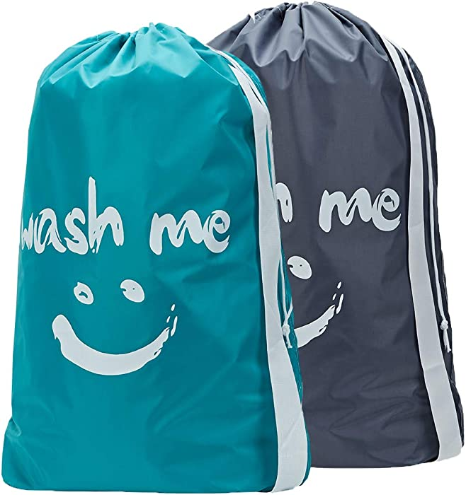 HOMEST 2 Pack Travel Laundry Bag with Strap, Rip-Stop Large Drawsting Storage Bag, Machine Washable Nylon Dirty Washing for Camp, College, Dorm, Grey & Sky Blue