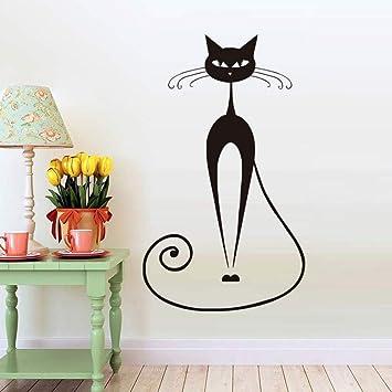 zxddzl Nuevo Diseño Negro Gato Animal Etiqueta De La Pared para Niños Habitación Decoración De La