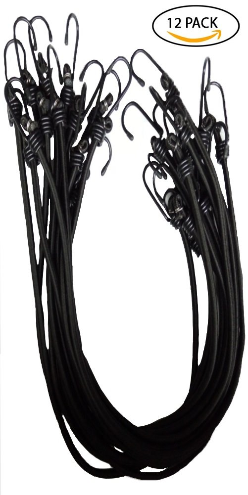 """Heavy-Duty, Industrial Quality 3/8 thick, 12-pack Bungee Cord 36"""" Bungee Cord, Steel-alloy PVC Coated Hooks, All Black"""