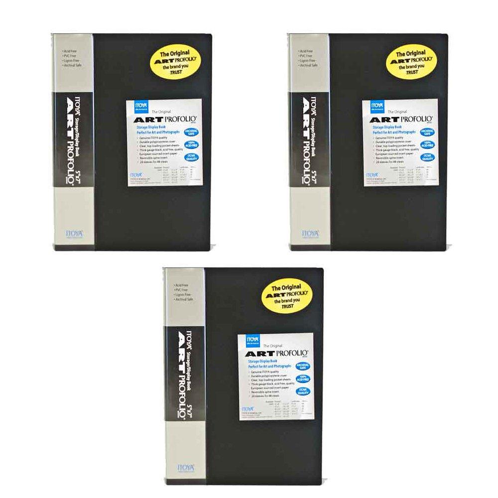 Itoya Art Profolio Original 5 x 7'' 24 Page Storage/Display Book (Black, 3-pack)