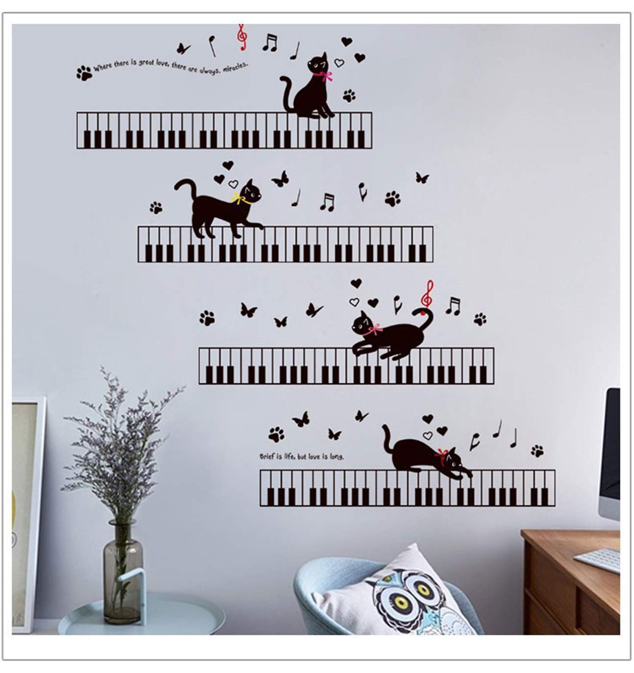 1 Pc Cat Piano Music For Kids Rooms Bedroom Art Skirting Butterfly Wall  Stickers Flower Animals World Decals Girls Bumper Decal Persuasive  Fashionable Vinyl ...