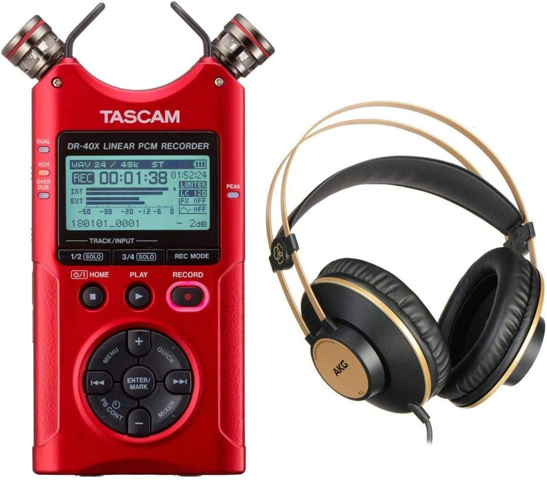 with AKG Acoustics K92 Closed-Back Over-Ear Studio Headphones Red Tascam DR-40X Four-Track Digital Audio Recorder and USB Audio Interface