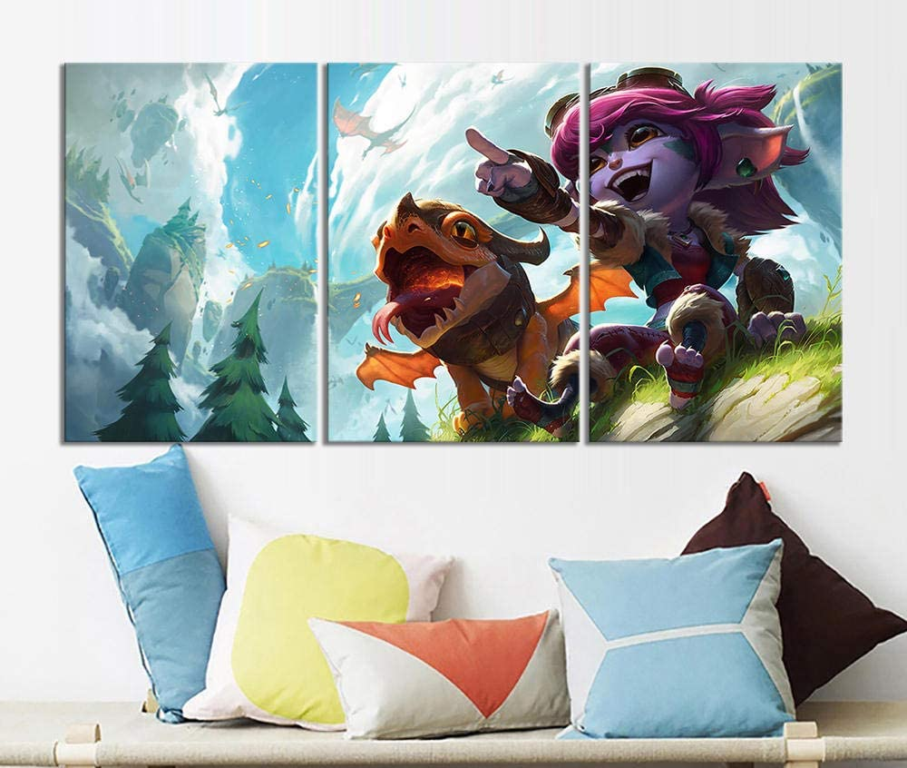 BDFS 3 St/ück dekorative Malerei Poster Office Wandbild Tristana Dragon Trainer League of Legends LOL Videospiel Malerei 35x50cmx3pcs Kein Rahmen