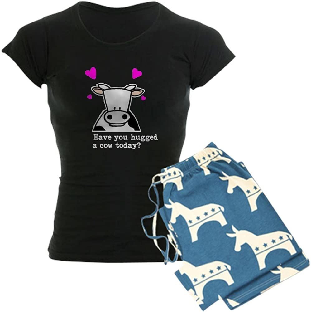 CafePress Hug a Cow Womens Dark Pajamas Womens PJs