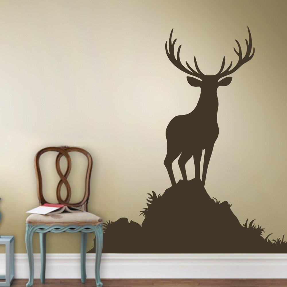 Amazon buck wall decal animal wall sticker vinyl deer wall amazon buck wall decal animal wall sticker vinyl deer wall decal wildlife hunting decor mens room art decoration dark brown home kitchen amipublicfo Image collections