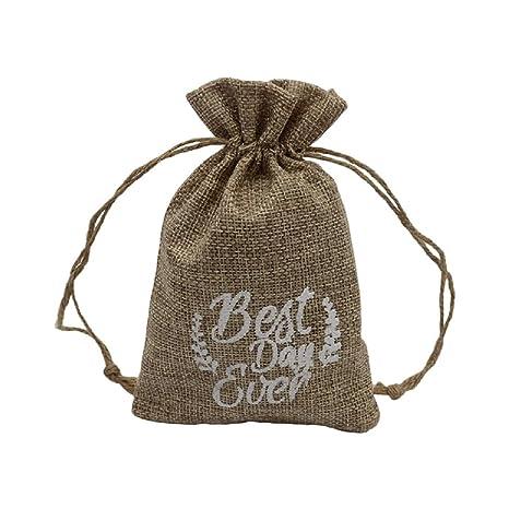 Yalulu - 12 bolsas de tela de arpillera con cordón para ...