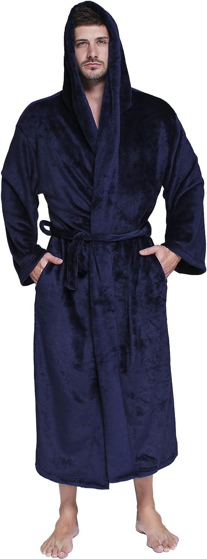 Ceinture et Boucle d/'Accroche Robe de Chambre Uni Nuit Sykooria Peignoir de Bain Homme Longue Coton Couleur Unie avec Capuche et 2 Poches