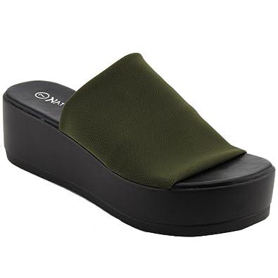 48cb491ea577d Nature Breeze EL85 Women s Stretchy Slip On Peep Toe Backless Platform  Sandals (6 B(