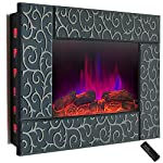 36 in. Wall Mount Electric Fireplace Heater in Green Tempered Glass with Pebbles, Logs and Remote Control by AKDY .