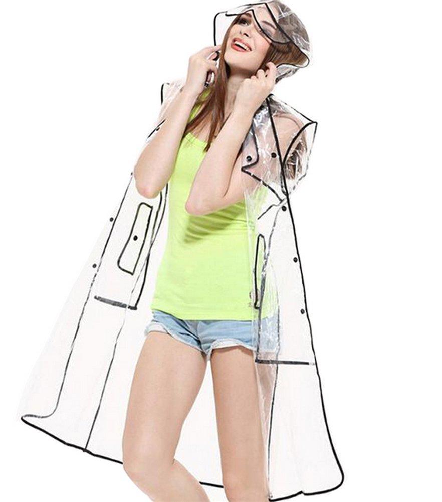 Zicac Womens Girls' Transparent Raincoat Waterproof Rain Jacket With Hood (US:4-8, Below Knee)