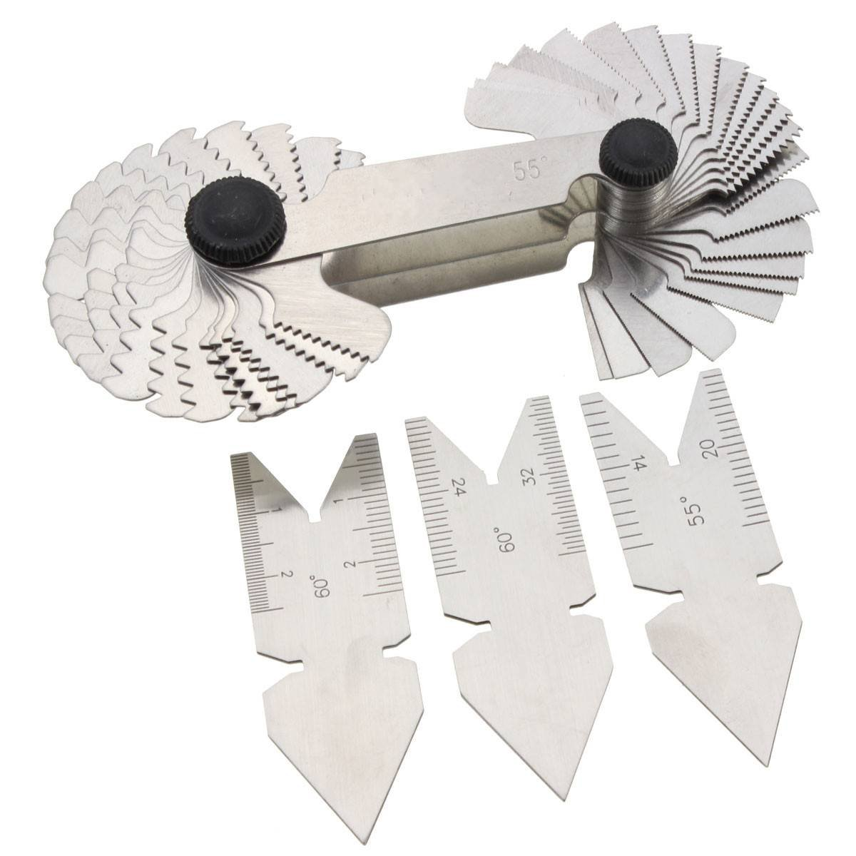 GOCHANGE Screw Thread Pitch Cutting Gauge Tool Set Centre Gage 50 Degree Inch System and 60 Degree Metric System 4 Pcs