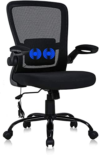 Home Office Chair Ergonomic Desk Chair Mid Back Mesh Chair,with Lumbar Support Flip-up Arms Massage Height Adjustable Swivel Rolling Executive Works Task Computer Chair for Women Men Adult,Black