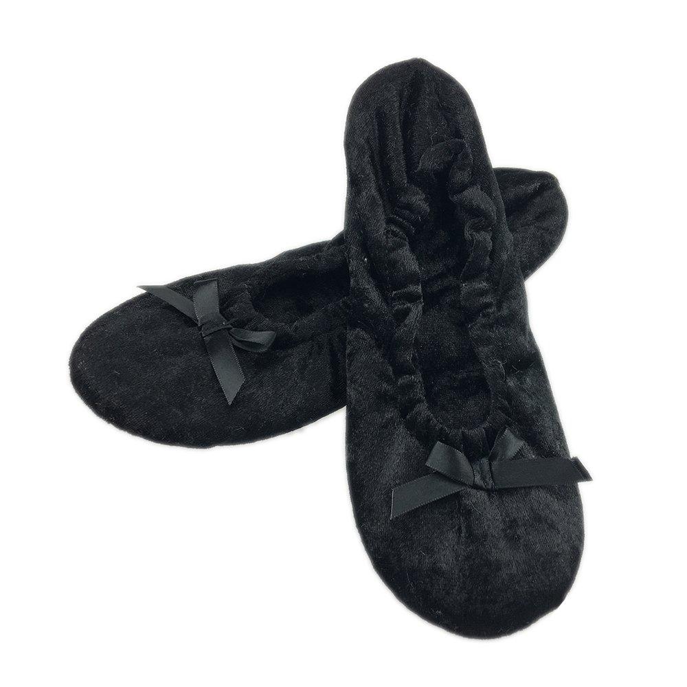ExtraComfort Women's Slippers Elegant and Portable Velour Ballerina Indoor Slippers/Yoga Shoes/Present/Gift (L(9-10)=27.7cm, Black)