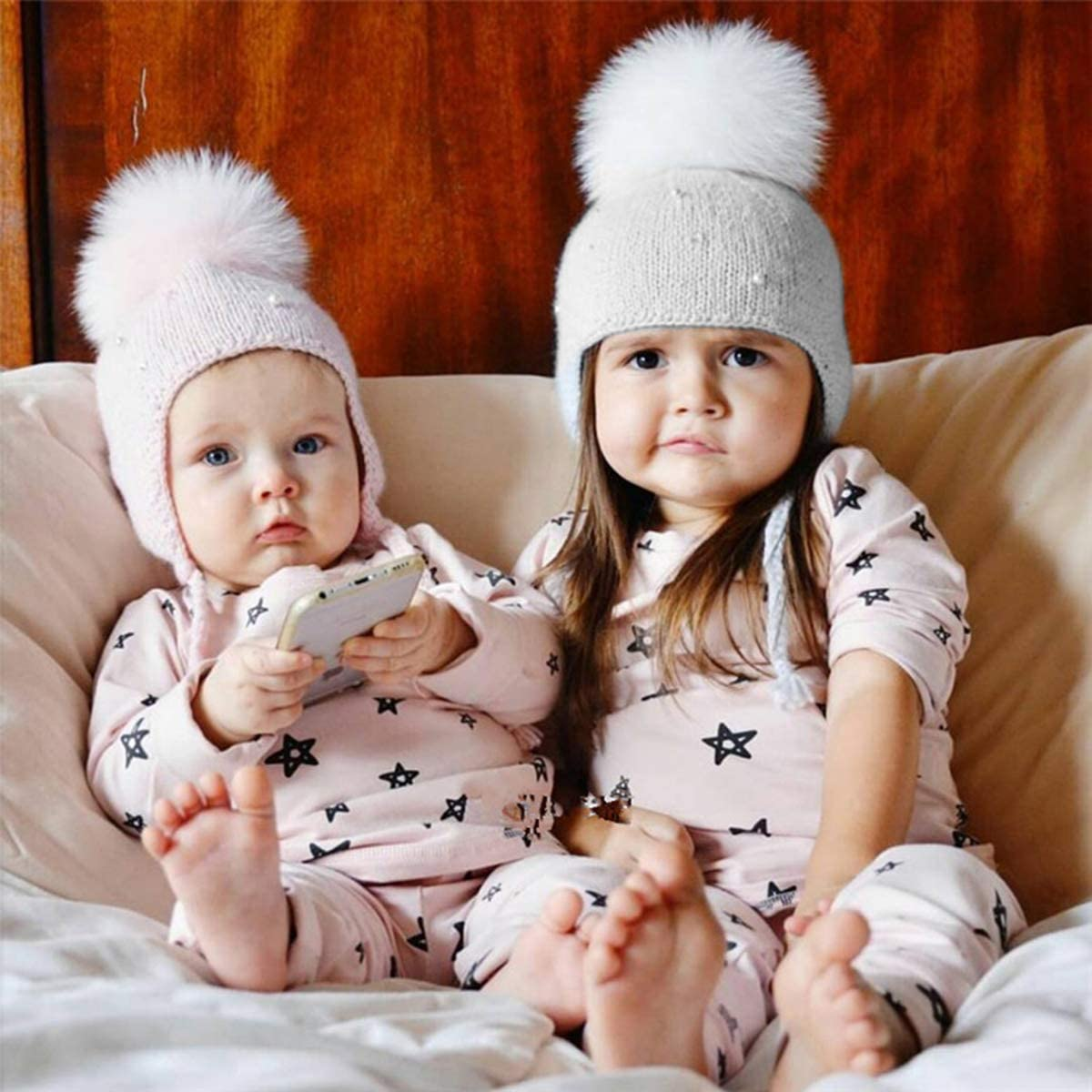 Evaliana Kids Children Baby Boys Girls Beanie Knit Hat Cap Winter Warm Pom Pom Bobble