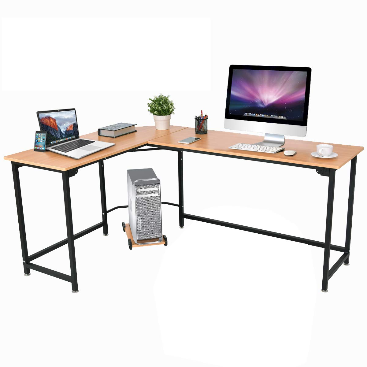 Tangkula 66 Computer Desk, L-Shaped Corner Writing Table Smooth Top Home Office Workstation Modern Study Laptop Desk with CPU Stand Natural