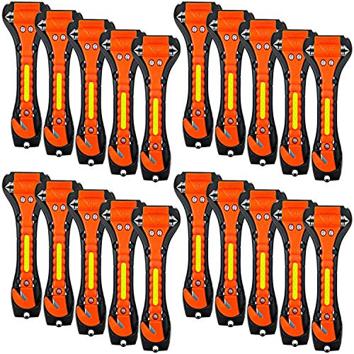 ZHSX 20 Pack Car Safety Hammer, 2 in 1 Car Escape Tool Seatbelt Cutter and Car Window Glass Hammer Breaker for Home Rescue and Car Emergency Escape Tools