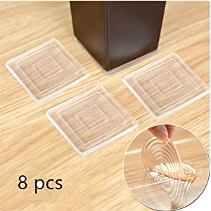"Non Slip Furniture Pads – Premium 8 pcs 3"" Furniture Grippers! Best SelfAdhesive Silicone Feet Furniture Legs– Ideal Non Skid Furniture Pad Floor Protectors for Fix in Place Furniture"