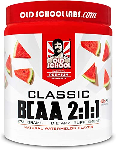 Old School Labs Classic BCAA 2 1 1 – Branched-Chain Amino Acids for Lean Muscle and Recovery with BioFit Probiotics – Natural Watermelon Flavor Makes for a Delicious Drink During Any Activity – 273