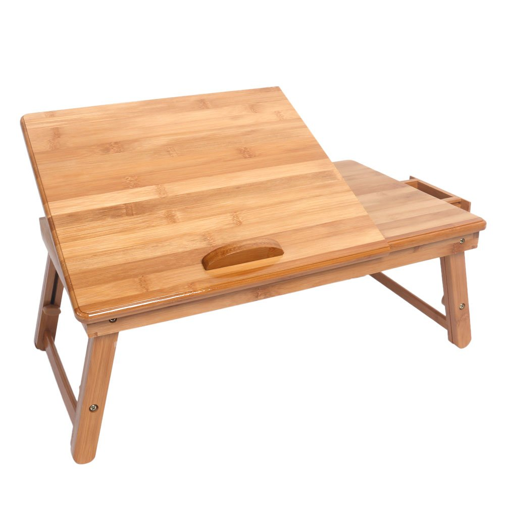 Lovinland Bed Desk Portable Adjustable Bamboo Lap Desk Tray Wood Color