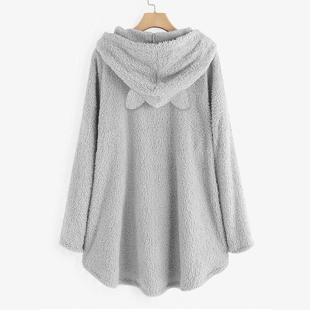 Yoyorule Tops Women Fleece Embroidery Cat Ear Plus Size Hoodie Pocket Top Sweater Blouse Plush Top Sweatshirt Pullover at  Women's Clothing store