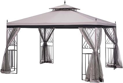 Amazon Com Sunjoy L Gz288pst 4h 10 X 12 Parlay Gazebo With Netting Gray With Black Garden Outdoor