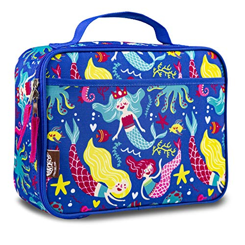 LONECONE Kids' Insulated Fabric Lunchbox - Cute Patterns for Boys and Girls, Fish + Chips (Mermaids) ()