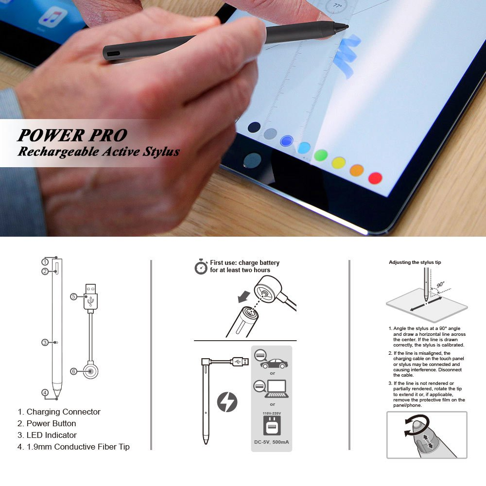 letech+ POWER PRO Rechargeable Active Stylus Pen,Conductive Fiber Fine Point Tip Digital Pen Offers Precise Handwriting Drawing on iPad,iPad pro,iphone,Samsung Tablet,Android Device,BLK by letech+ (Image #6)
