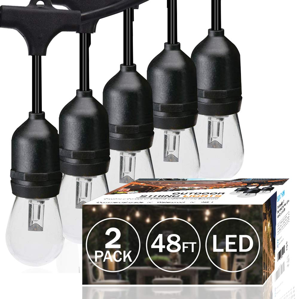 SUNTHIN 2-Pack 48ft LED String of Lights with 15 x E26 Sockets and Hanging Loops, 18 x 0.9 Watt S14 Bulbs (3 Spares) -Indoor/Outdoor String Lights, Commercial String Lights, Light Strings by SUNTHIN
