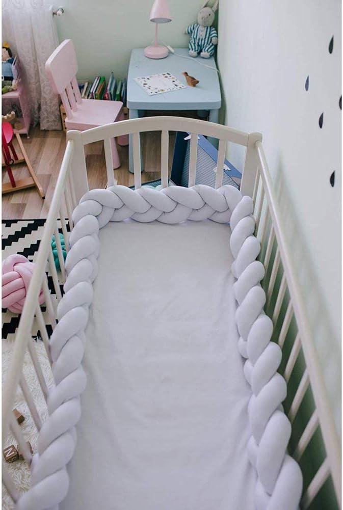 4M Nestchen Bettschlange Babybett Sto/ßstange Weben Kantenschutz Kopfschutz Dekoration f/ür Krippe Kinderbett Pink Wei/ß Grau LFEWOX Baby Bettumrandung