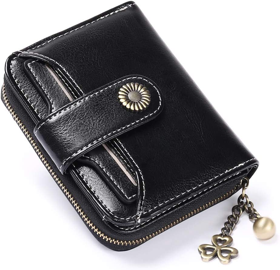 FALAN MULE RFID Blocking Wallet for Women Genuine Leather Short Wallet Ladies Purses Small Wallet Card Holder Coin Pocket