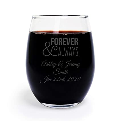 48 pack personalized engraved forever and always 9 oz stemless wine glass wedding favor