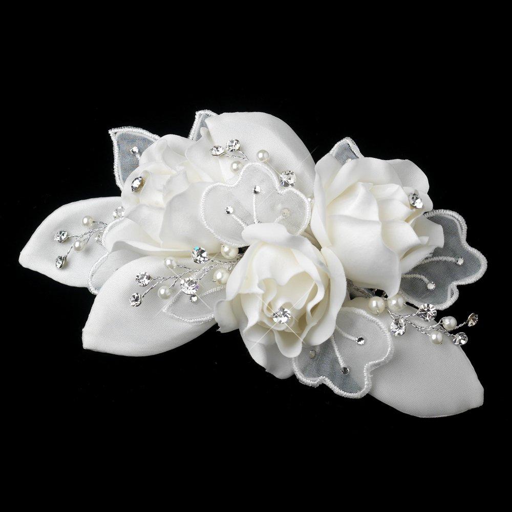 Ivory Simulated Pearl & Rhinestone Accent Wedding Bridal Comb by Fairytale Bridal Tiara