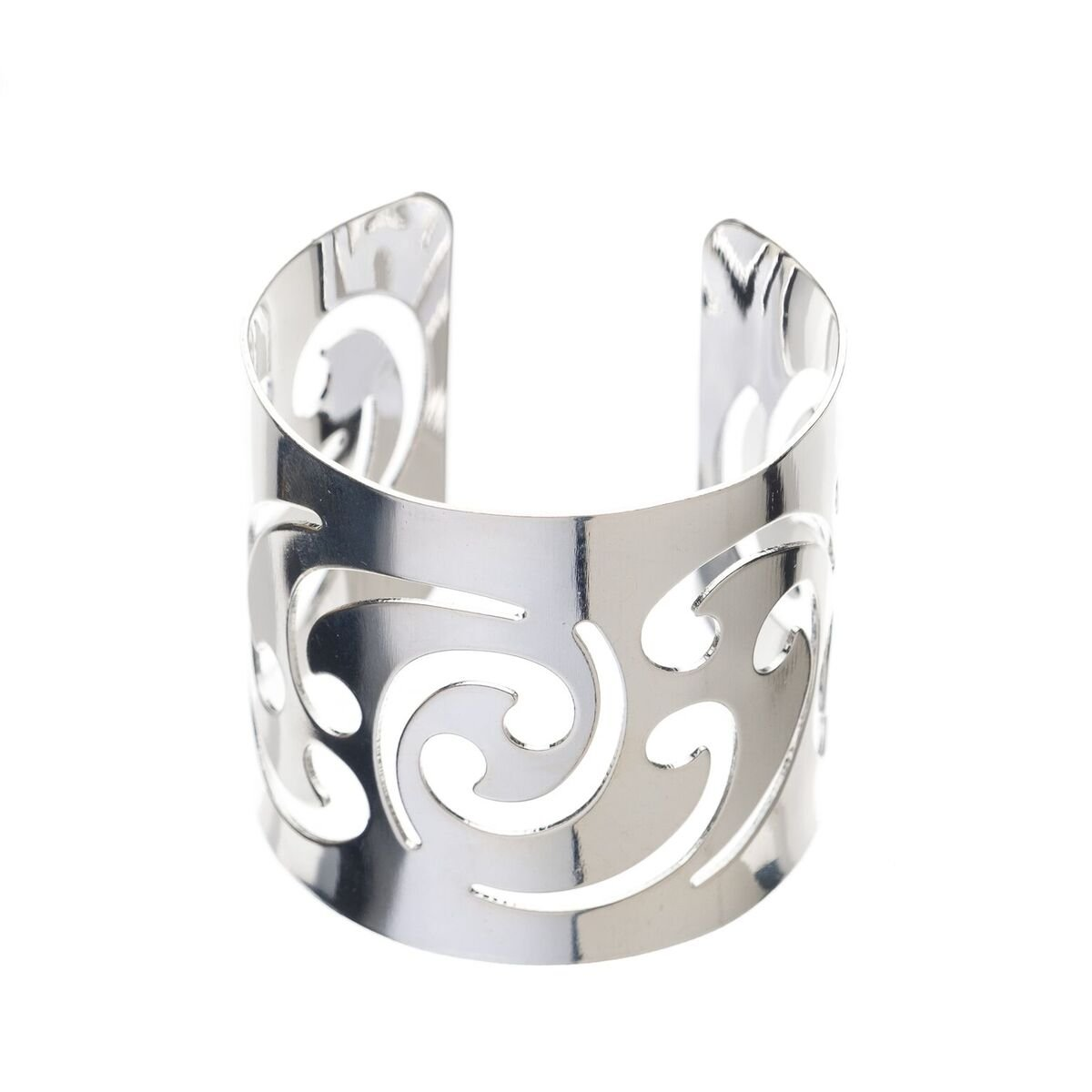 Ella Celebration Metal Swirl Napkin Ring Holders, Napkin Rings for Weddings, Silver Set of 12 (Silver)