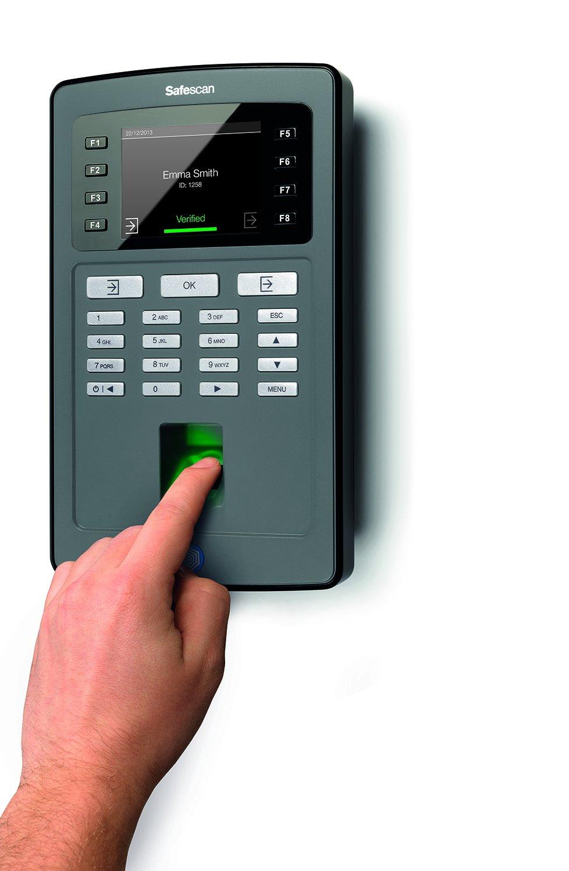 Safescan TA-8025 Zeiterfassungssystem Terminal mit Fingerprintsensor und Software Schwarz