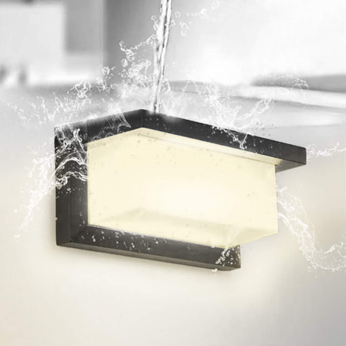 HAOFU 10W Lampada da Parete per esterno,Applique da Parete Impermeabile IP65 Lampada Muro in Alluminio+acrilico,4000K Bianco+bianco Naturale,nero nero-04