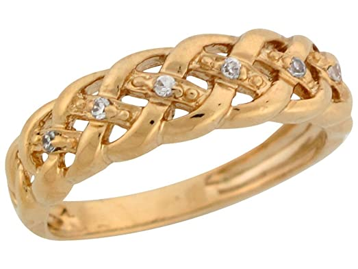Amazon 10k Yellow Gold Round Cut Diamond Woven Band Design