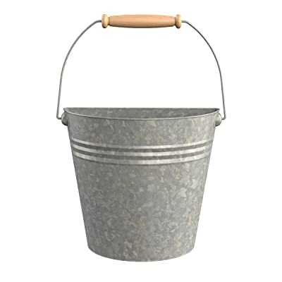 Panacea 086239 83220 Aged Galvanized Half Round Wall Buckets with Wood Handle : Garden & Outdoor