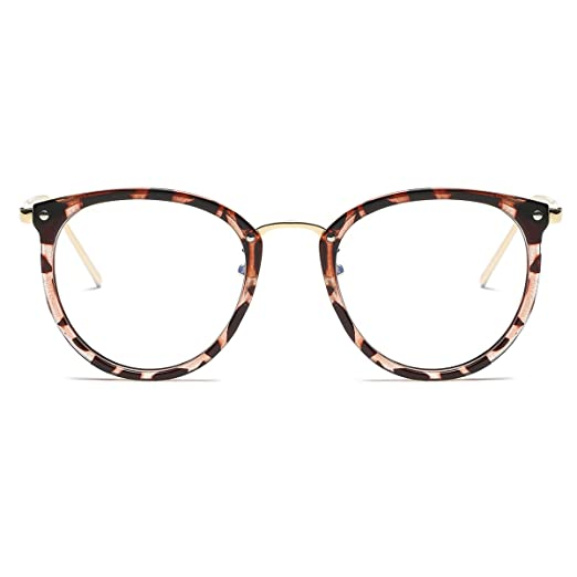 a584ec76a9 Amomoma Womens Fashion Clear Lens Round Frame Eye Glasses AM5001 Leopard  Frame Clear Lens