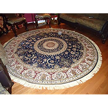 Luxury High End Shiny Silk Area Rugs Persian Silk Tabriz Design Round Shape Rugs 6x6 Circle Navy Rug Silk Traditional Rugs Low Pile Silk Rugs